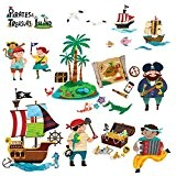 Decowall DW-1310 L'Île au Trésor & Les Pirates Autocollants Muraux Mural Stickers Chambre Enfants Bébé Garderie Salon