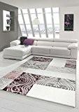 Designer Tapis contemporain salon tapis avec Glitzergarn tapis de laine avec motif diamant Cream Beige Taupe Violet Größe 80x150 cm