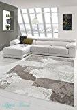 Designer Tapis contemporain salon tapis avec Glitzergarn tapis de laine avec motif diamant et motifs orientaux dans Creme Brown Taupe ...