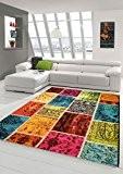 Designer Tapis contemporain salon tapis plaid patchwork tapis multicolore en Vert Rouge Jaune Multicolore Turquoise Größe 120x170 cm