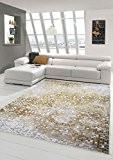 Designer Tapis contemporain tapis de salon tapis à poil ras à carreaux coupe de contour dans la crème de moutarde ...