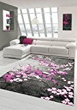 Designer Tapis contemporain tapis du salon motif floral Gris Violet Rose Blanc Rose Größe 80 x 300 cm