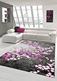 Designer Tapis contemporain tapis du salon motif floral Gris Violet Rose Blanc Rose Größe 120x170 cm