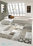 Designer Tapis contemporain Tapis Patchwork salon ornement tapis tapis tapis en laine Brown Beige Cream Größe 80x150 cm
