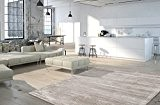 Designer Tapis de salon moderne poils courts Line Design Taupe, beige, 160 x 230 cm