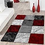 Designer Tapis Valencia moderne en marbre avec aspect carreaux mélangé rouge gris blanc, 80x150 cm