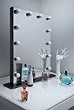 Diamond X Gloss Black Hollywood Makeup Mirror Warm White LED k112MWWaud