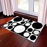 DITAN Tapis / flocage noir et blanc géométrique Pad / Absorbant Tapis de salle de bains / Paillasson / Mat ...