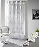 Douceur d'Intérieur Panneau avec Oeillets Imprimé Argent Platine Polyester/Voile Blanc 140 x 240 x 240 cm