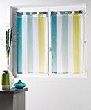 Douceur d'Intérieur Voile Bayadère Riviera Paire Droite Polyester Blanc/Bleu 60 x 160 cm