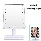 Dproptel Portable Make-up Mirror Miroir de Maquillage 20 LEDs Lumineux Miroir de Table Écran Tactile 20 LEDs à Piles 180 ...