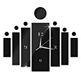 DU&HL Horloge moderne DIY Big Wall Big Montre Decal Stickers 3D Mute Horloge murale Home Office amovible Décoration- rectangle noir ...