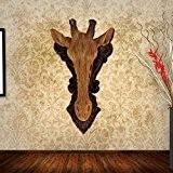 Dui lijun Girafes animaux tête résine suspendus décoration murale sur le mur de l'idyllique salon créatif wall sticker , 34*20*8