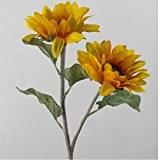 Duo de tournesols artificiels, jaune-orange, 55 cm, Ø 14 cm - Fleur artificielle / Tige de tournesol - artplants