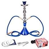 DXP Shisha 2 Sortie Tuyau ou tube 53 cm Chicha Hookah Narguile vase Fumeurs avec Carbon, Feuilles aluminium Bleu JYH01 ...