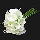 E-lant Bouquet de 10 callas artificielles pour mariée , Blanc, Lot de 10