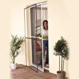 Easy life - Moustiquaire de Porte - Porte fenêtre - Cadre en aluminium - 100x215cm ajustable + fixations - Marron