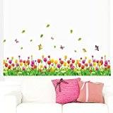 Ecloud Shop® Amovibles Beautiful Flowers Tulip Colorful papillon Stickers Muraux art Décoration d'intérieur Peel bâton Stickers muraux pour Coin mur ...
