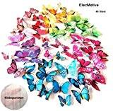 ElecMotive® 48 pièces 3D graz design sticker mural motif papillons autocollants 3D pour décoration murale avec points (aimant de fixation ...