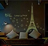 ElecMotive Autocollant mural amovible Motif Paris Tour Eiffel lumineuse Pour le salon, la chambre  Fluorescent et phosphorescent