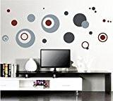 Élégant Sticker mural rond Cercles Gris Maison en papier peint amovible Salon Chambre Cuisine Art Images murales décoration de porte ...