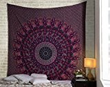 Elephant Mandala Tapisserie Paisley Hippie Tapisserie traditionnelle indienne Throw Bohemian Boho Wall Hanging Psychedelic Reine Bedspread Plage Throw Université Wall ...