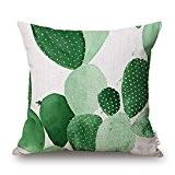 Elviros Coton Lin Blend Géométrique Décoratif Housse de Coussin 45x45 cm [ 18x18'' ] - Feuilles Tropicales