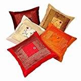 En El entreprises à la main ethnique indien broderie soie Housse de coussin décoratif Lot de 5pièces.