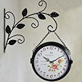 En fer forgé jardin double face horloge murale/ tableaux de mise en sourdine mur salon couloir-B