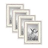 Ensemble de 4 cadres photo en bois massif blanc, style campagne et nature, dimensions: 10x15 cm. Accessoires et verres inclus.
