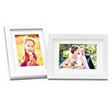 Ensemble de deux cadres photos modernes et épais en bois massif blanc 21x30 cm DIN A4 avec passepartout de 15x20 ...