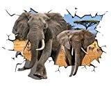 EOZY 3D Sticker Mural Éléphants Savane Africaine Autocollant Maison Mur Sallon à Manger Chambre Enfant