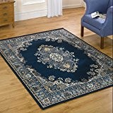eRugs Petit Tapis de couloir avec motif traditionnel oriental à médaillon 60x 110cm Bleu Marine
