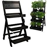 Escalier pour pots de fleurs en bois FSC® 74 x 39 x 40 cm avec tableau - Bois impregné et ...