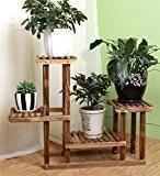 Étagère en bois massif étagère de protection de l'environnement stand de la plante Carbonisé étagères anti-corrosion Étagère en fleur porte-pot ...