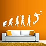 Evolution Joueur de volley-ball - Sticker mural noir 62 x 25 cm (Muraux Décoration Murale Stickers Wall Decal Autocollants Salon ...
