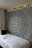 """Exclusif """"Noir et Blanc Ombre par raajsee Tapisserie, Mandala Tapisserie, reine éléphant Tapisserie, Multi Couleur indien Mandala Mural Art bohème ..."""