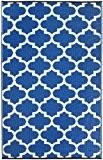 Fab Habitat Intérieur / Tapis extérieur Tanger - Régate bleu & blanc (90cm x 150cm)