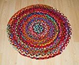Fair Trade rond tressé Multicolore Coton chindi Tapis 60 cm