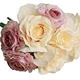 Fami Rose Fake Silk Flower Leaf Artificial Home Wedding Decor Bouquet de mariée (Violet)