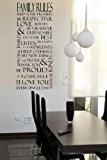 Family Rules Wall Sticker (Large: 50cm x 120cm / 20 x 47) by Broomsticker