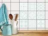 Feuille adhésive décorative carreaux | Sticker photo mural - Enjolivure de chambre de jeune | Design Türkise Ornements | 10x10 ...