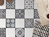 Feuille amovible décorative carreaux sol | Mosaïque revêtement de sol - Moderniser baignoire | Motif Black n White | 20x20 ...