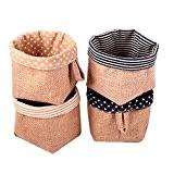 Fieans Coton et lin Panier de rangement Cube pliable Avec Poignée Petit panier de rangement Lot de 4-Type A