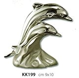 Figurine couple dauphins Kikke CM9x 10laminé argent Made in Italy