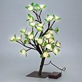 Finether 17,72 Pouces 45 cm Batterie Rose Arbre Lumineux Lampe Ambiance Lampe de Table avec 36 LEDs Branches Réglables pour ...