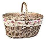 Fini Antique de toilette Panier en osier avec couvercle amovible avec doublure en coton Motif roses Vintage