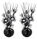 Flourish 796167 Fleurs artificielles en soie avec vase ovale pourpre noir violet 75cm, Verre, noir/blanc, 10x10x32 cm