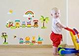 Forêt mignon animal Train avec soleil et arc-en-ciel Décoration Murale pour enfant jeux Baby Circus Animal Nursery Chambre Art Mural ...