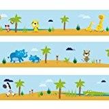 Frise Wandkings « Grand Safari » Longueur : 450 cm, auto-adhésive, pour chambres d'enfants